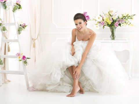 Dress, Gown, Wedding dress, White, Clothing, Shoulder, Bride, Bridal clothing, Pink, Strapless dress,