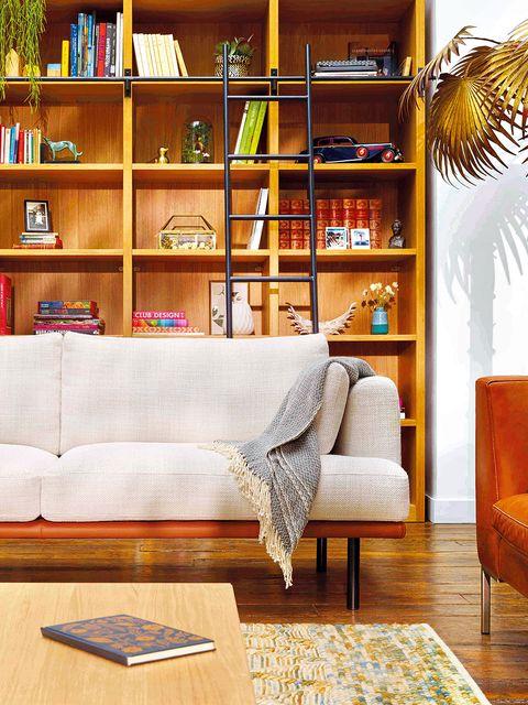 Furniture, Living room, Shelf, Room, Shelving, Interior design, Bookcase, Property, Home, Wall,