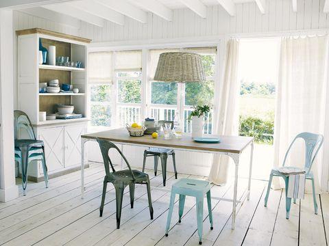 Wood, Room, Interior design, Green, Furniture, Floor, Table, Flooring, Chair, Shelf,