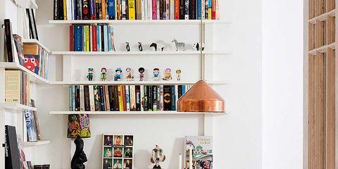 Room, Yellow, Interior design, Shelf, Furniture, Shelving, Table, Wall, Chair, Floor,