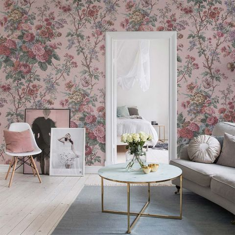 White, Room, Interior design, Pink, Furniture, Living room, Wallpaper, Wall, Property, Table,