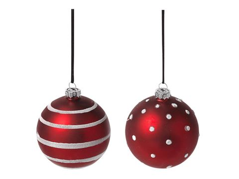 Product, White, Red, Line, Holiday ornament, Pattern, Carmine, Sphere, Ornament, Christmas ornament,