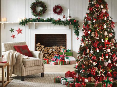 Interior design, Room, Event, Green, Christmas decoration, Red, Home, Interior design, Christmas tree, Living room,