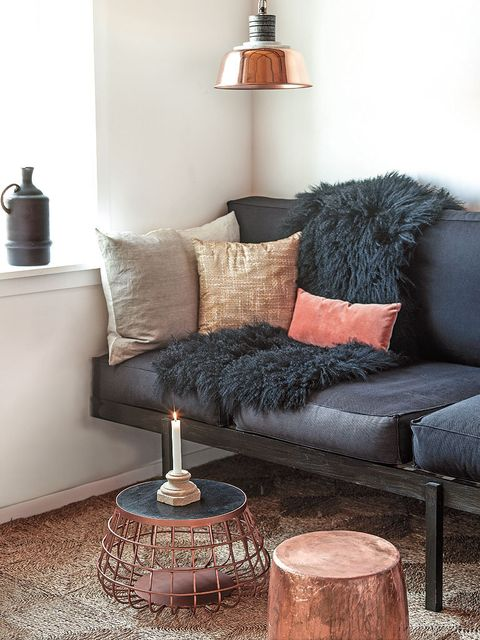 Blue, Room, Interior design, Wood, Wall, Living room, Furniture, Home, Lampshade, Couch,