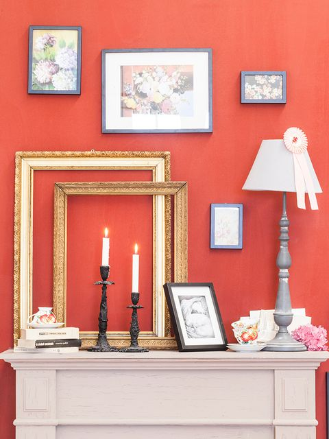 Red, Room, Wall, Furniture, Pink, Orange, Yellow, Interior design, Table, Peach,