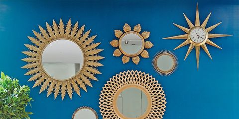 Blue, Wall, Interior design, Interior design, Art, Circle, Design, Wall sticker, Wallpaper, Decoration,