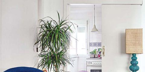 Blue, Floor, Room, Interior design, Flooring, Wall, Hat, Costume accessory, Home, Interior design,