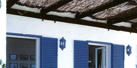 House, Outdoor furniture, Fixture, Door, Home, Outdoor table, Shade, Cottage, Backyard, Yard,