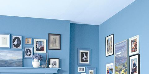 Blue, Room, Interior design, Wall, Teal, Picture frame, Chair, Azure, Turquoise, Interior design,