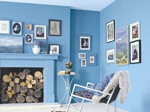 Room, Interior design, Wall, Chair, Picture frame, Teal, Grey, Turquoise, Interior design, Home,