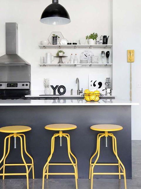 Furniture, Black, Yellow, Bar stool, Table, Stool, Room, Interior design, Black-and-white, Shelf,