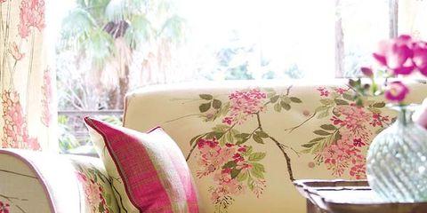 Interior design, Textile, Serveware, Pink, Linens, Cushion, Throw pillow, Pillow, Purple, Home accessories,