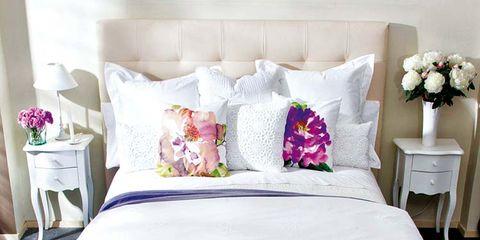 Blue, Room, Product, Green, Interior design, Bedding, Textile, Furniture, Purple, White,