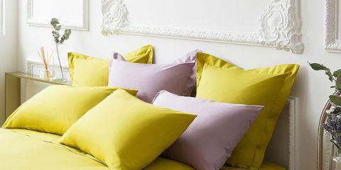 Blue, Room, Yellow, Interior design, Green, Bedding, Textile, Wall, Bedroom, Linens,