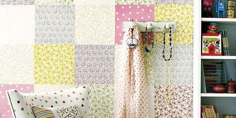 Room, Shelf, Floor, Textile, Flooring, Interior design, Furniture, Shelving, Pattern, Teal,