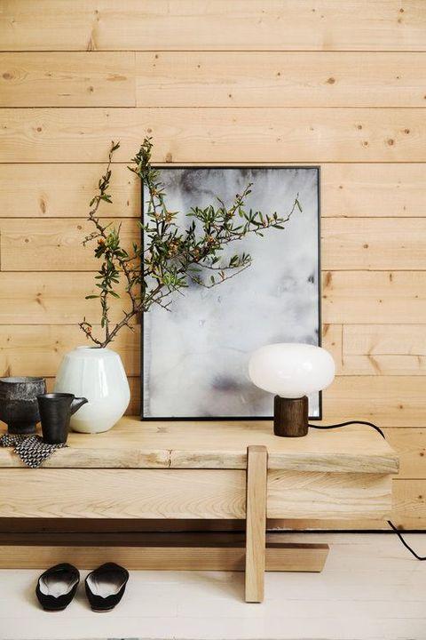 Shelf, Wall, Furniture, Table, Interior design, Room, Wood, Floor, Still life photography, Branch,