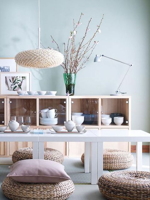Room, Furniture, Interior design, Living room, Turquoise, Table, Coffee table, Branch, Bedroom, Twig,