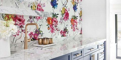 Room, Wall, Property, Interior design, Kitchen, Wallpaper, Tile, Furniture, Floor, House,