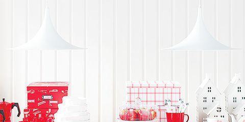Room, Interior design, Red, Interior design, Grey, Home accessories, Peach, Decoration, Tablecloth, Light fixture,