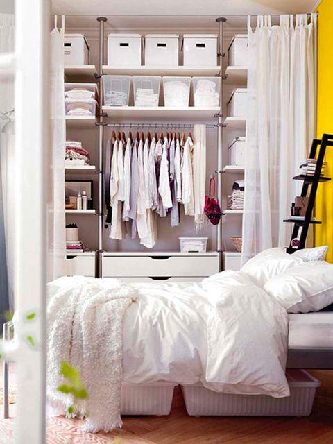 White, Room, Furniture, Clothes hanger, Bedroom, Closet, Bed, Wardrobe, Interior design, Canopy bed,