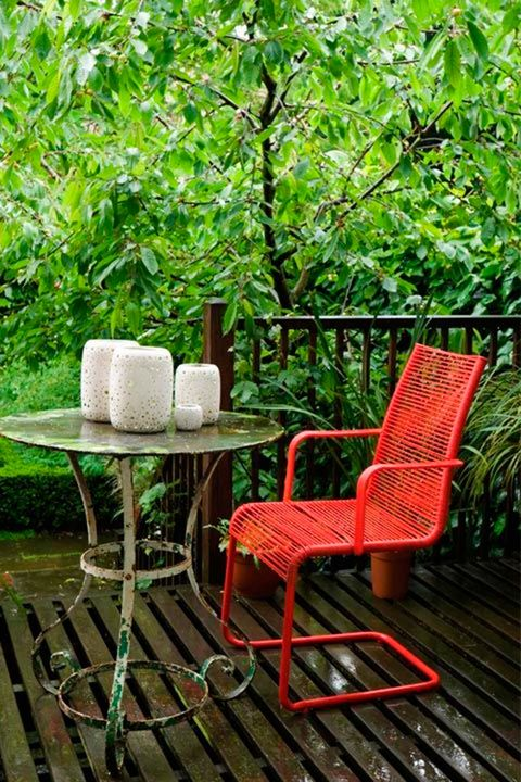 Chair, Furniture, Table, Outdoor furniture, Tree, Botany, Armrest, Outdoor table, Room, House,