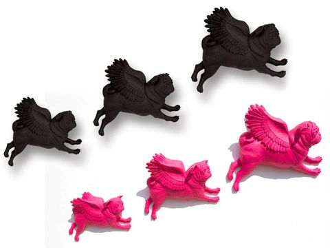 Pink, Wing, Animal figure, Tail, Toy, Claw, Craft,