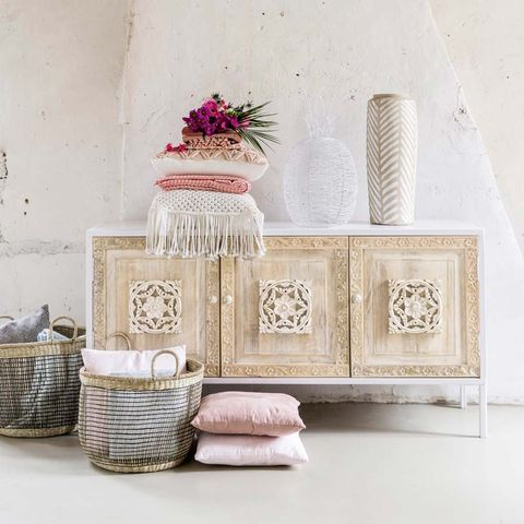 Room, Pink, Furniture, Table, Interior design, Home accessories, Still life, Wicker, Living room,