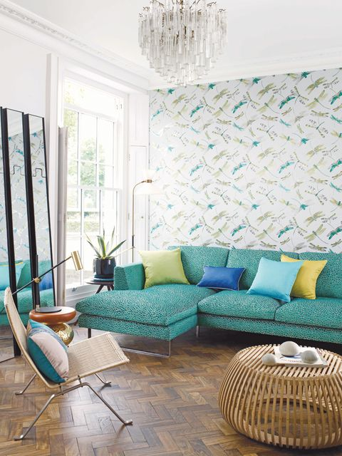 Blue, Green, Interior design, Room, Floor, Flooring, Furniture, Wall, Teal, Couch,