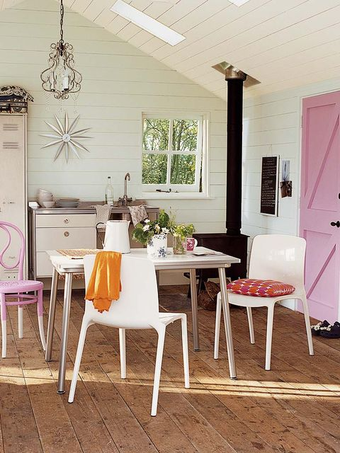 Furniture, Room, White, Dining room, Interior design, Table, Pink, Property, Chair, Floor,