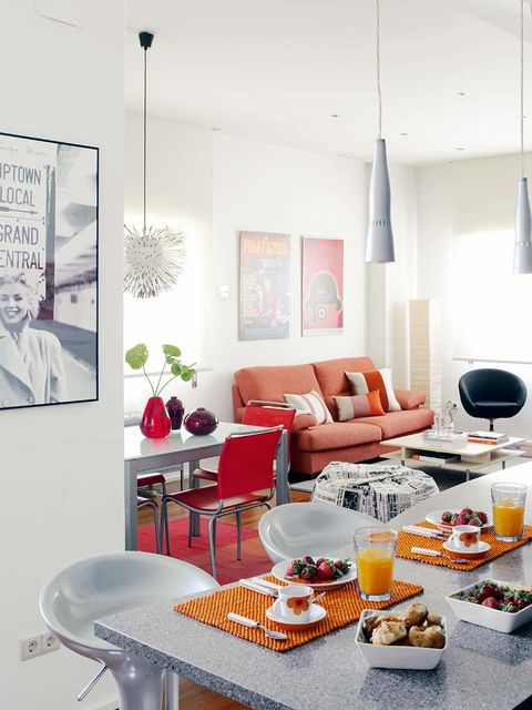 Living room, White, Room, Interior design, Orange, Furniture, Red, Table, Coffee table, Couch,