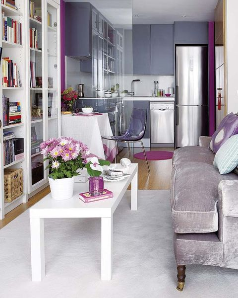Furniture, Room, Interior design, Purple, Living room, Violet, Property, Building, Lilac, Floor,