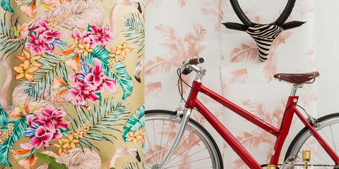 Bicycle, Pink, Bicycle wheel, Bicycle accessory, Bicycle part, Wall, Bicycle handlebar, Vehicle, Spring, Floral design,