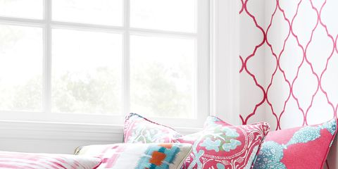 Window, Interior design, Room, Textile, Pattern, Pink, Teal, Cushion, Pillow, Turquoise,