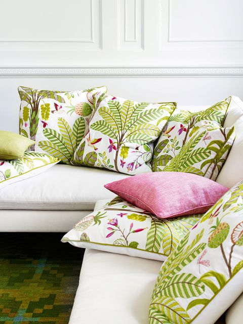 Green, Throw pillow, Cushion, Pillow, Pink, Purple, Pattern, Living room, Home accessories, Design,