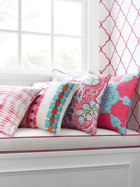 Blue, Room, Interior design, Window, Pattern, Textile, Wall, White, Red, Pink,