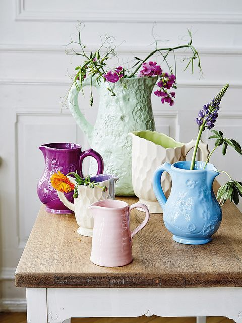 Purple, Jug, Table, Flowerpot, Pink, Flower, Still life photography, Still life, Tableware, Room,