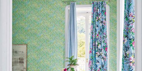 Blue, Interior design, Room, Wall, Pink, Purple, Furniture, Interior design, Living room, Home,