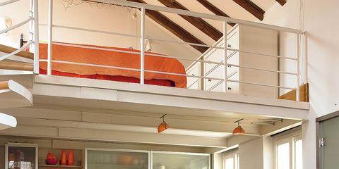 Interior design, Room, Orange, Table, Floor, Furniture, Ceiling, Fixture, Beam, Interior design,