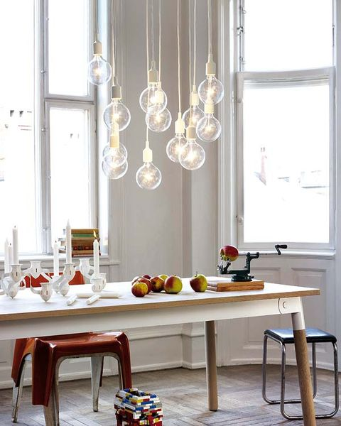 Room, Table, Furniture, Glass, Light fixture, Chandelier, Interior design, Ceiling fixture, Silver, Stool,