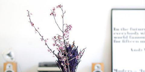 Branch, Table, Twig, Furniture, Interior design, Centrepiece, Vase, Flower Arranging, Artifact, Lavender,