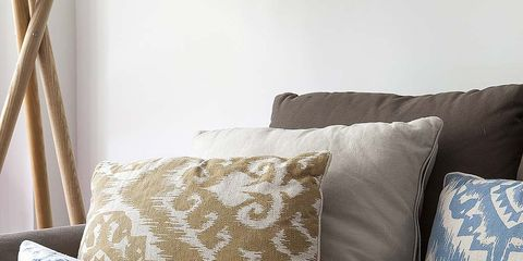 Blue, Brown, Textile, Cushion, Room, Interior design, Pillow, Pattern, Azure, Throw pillow,