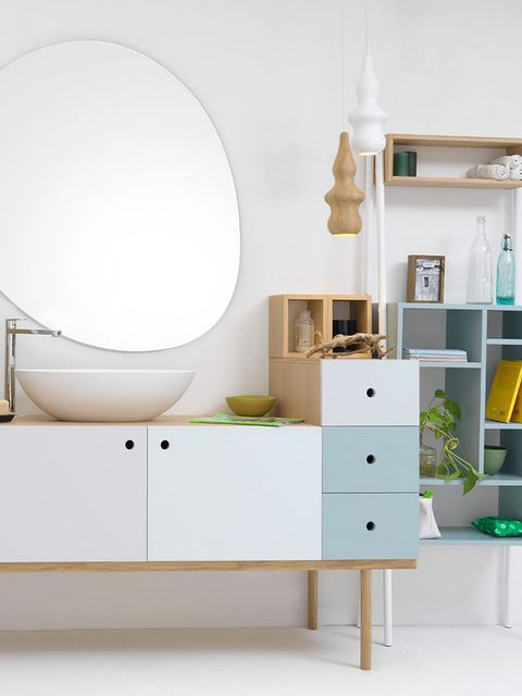 Room, Interior design, Wall, White, Drawer, Floor, Cabinetry, Home, Turquoise, Teal,