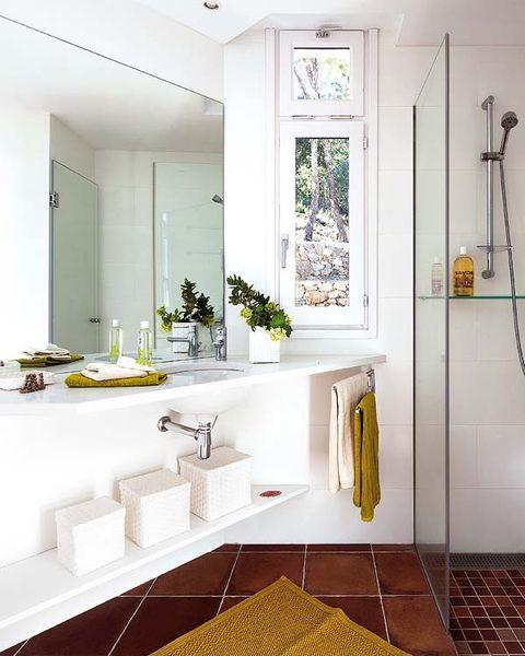 Bathroom, Room, Property, Interior design, Yellow, Tap, Floor, Plumbing fixture, Sink, Tile,