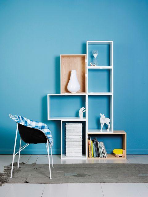 Blue, Wood, Shelving, Room, Shelf, Teal, Wall, Turquoise, Furniture, Aqua,