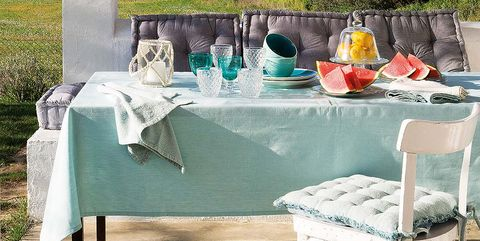 Table, Dishware, Teal, Turquoise, Serveware, Linens, Porcelain, Outdoor furniture, Tablecloth, Wine glass,