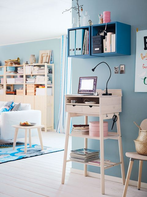 Room, Interior design, Furniture, Table, Turquoise, Teal, Stool, Shelving, Interior design, Aqua,