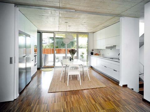 Room, White, Wood flooring, Floor, Interior design, Ceiling, Furniture, House, Building, Property,