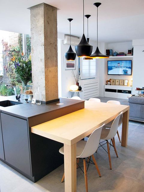 Furniture, Room, Kitchen, Countertop, Property, Interior design, Table, Cabinetry, House, Yellow,