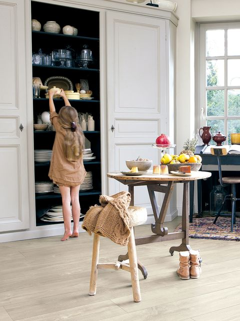 Furniture, Table, Dress, Room, Door, Fixture, Beige, Interior design, Shelf, Light fixture,