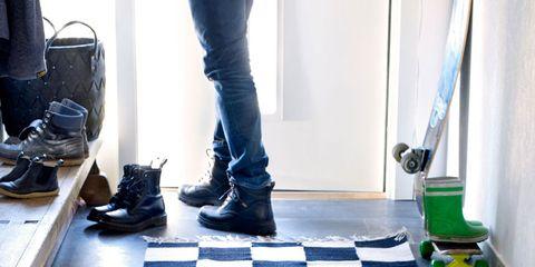 Clothing, Leg, Blue, Floor, Trousers, Flooring, Denim, Jeans, Shoe, Textile,